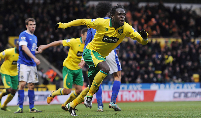 Norwich City's Kei Kamara, on loan from Sporting Kansas City, scored the tying goal against Everton.