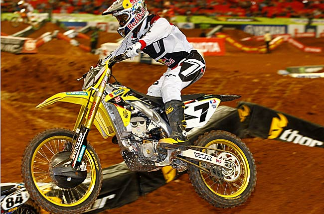 James Stewart raced to his first 450SX Class victory of the AMA Supercross season Saturday night.