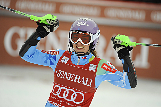 Along with clinching the World Cup title, Tina Maze tied a season record with her 18th top-three finish, matching Pernilla Wiberg of Sweden and Hanni Wenzel of Liechtenstein.
