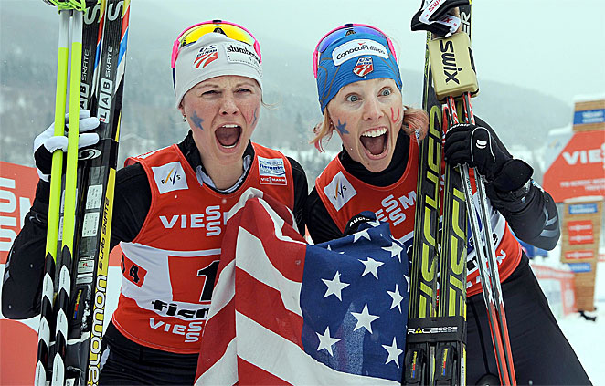 Kikkan Randall (right) and Jessica Diggins won the U.S.' first world cross country skiing gold medal in the free team sprint competition.