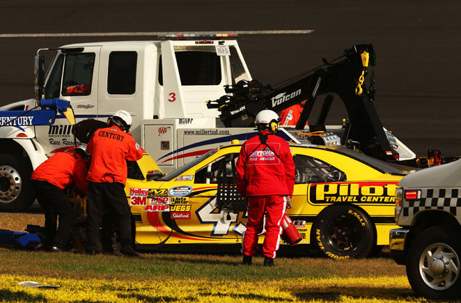 Michael Annett was involved in a 13-car accident before the scary 12-car wreck on the final lap.