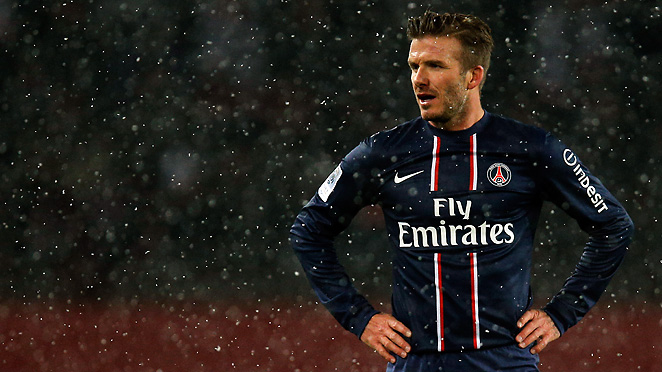 David Beckham entered the game in the 76th minute to make his PSG debut in its rivalry game.