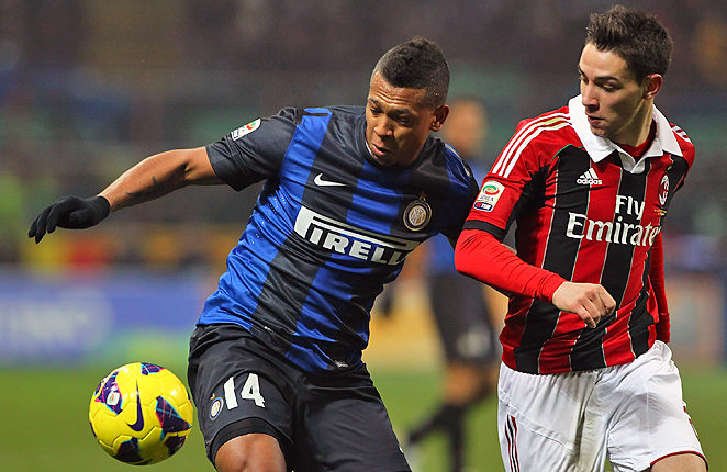 Mattia De Sciglio (right) and AC Milan could not get past Inter on Sunday.