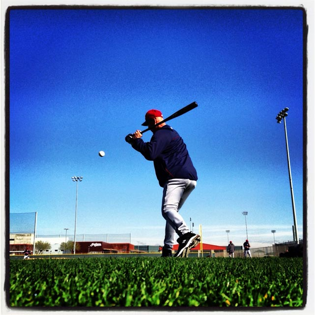 Indians manager Terry Francona hits fungoes during a spring training workout.
