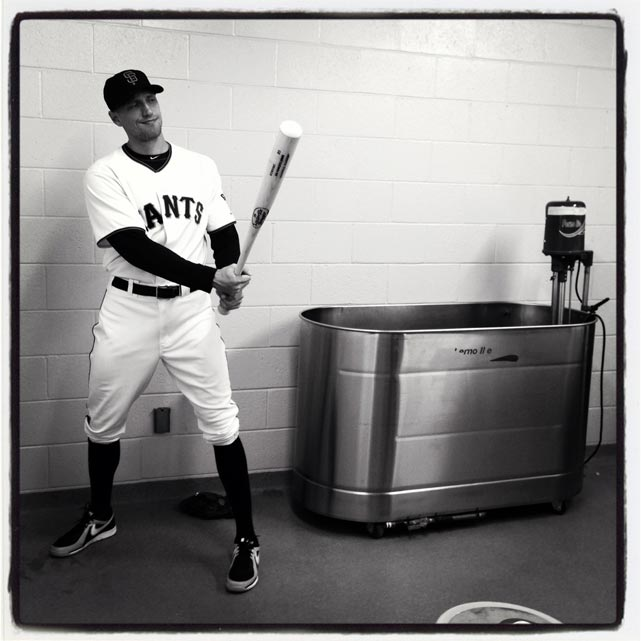 Hunter Pence poses at #sfgiants photo day at #springtraining. #instantbaseball
