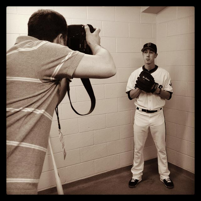@squirephoto photographs Tim Lincecum on #sfgiants photo day this morning at #springtraining. #instantbaseball