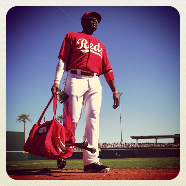 Brandon Phillips of the Reds walks into the dugout before today's spring training game against the Indians.