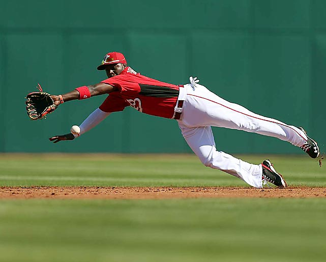 Cincinnati Reds second baseman Brandon Phillips shows no rust from the offseason as he dives for a grounder in a spring training game against the Cleveland Indians in Glendale, Ariz. on Feb. 23. The Indians won a slugfest, 13-10, powered by two home runs from Ryan Raburn. Raburn homered in each of his first three at-bats at spring training.