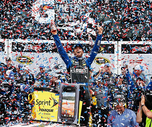 Jimmie Johnson celebrates in victory lane after winning the 55th annual Dayton 500 on Feb. 24. Johnson raced past defending NASCAR champion Brad Keselowski on the final restart to take the checkered flag, his second win in the Great American Race.