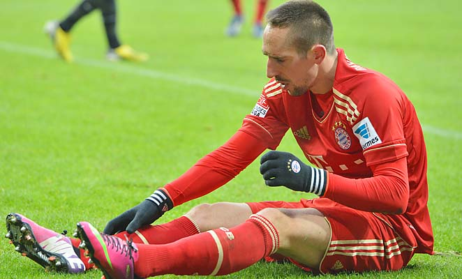 Franck Ribery is suspended for the German Cup quarterfinal with Borussia Dortmund on Wednesday.