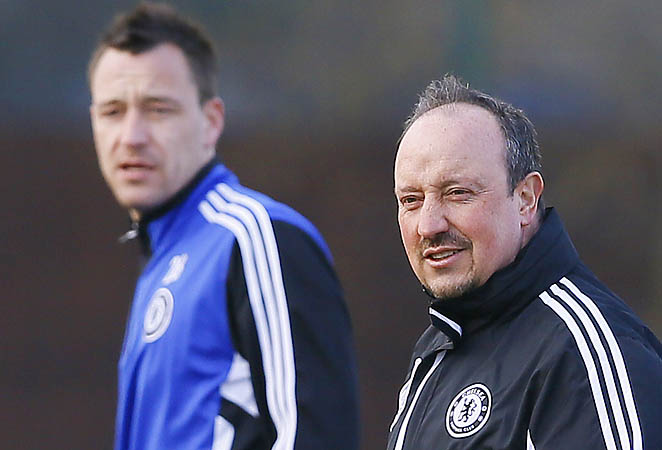 John Terry (left), Rafa Benitez and Chelsea are in fourth place in the Premier League.