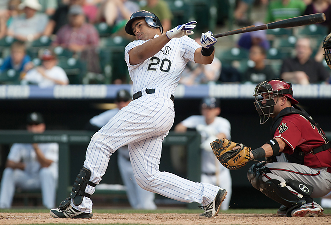 Catcher Wilin Rosario hit 28 home runs and drove in 71 RBI as a rookie for the Rockies in 2012.