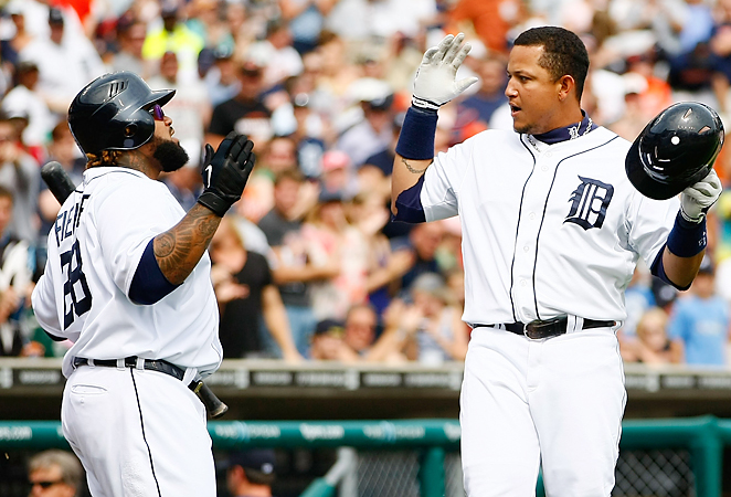 Prince Fielder and Miguel Cabrera combined to hit 74 home runs and drive in 247 RBI last season.