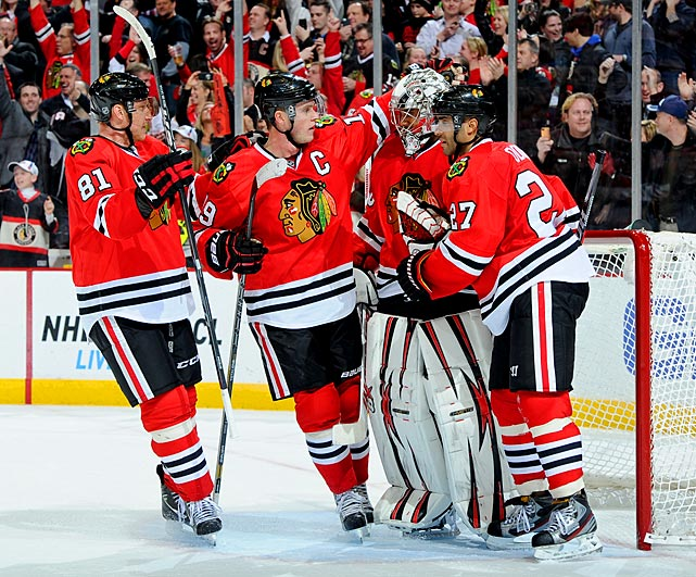 Already hosts to the record for most consecutive games with a point to start of a season, the Chicago Blackhawks continued to win, crossing the halfway mark in the lockout-shortened NHL season without a regulation or overtime loss (21-0-3). With the points streak in jeopardy trailing 2-1 in the third period against Colorado, the Blackhawks rallied, and Daniel Carcillo put in the game-winner with 49.3 seconds left. That also kept alive an 11-game winning streak, the longest in franchise history.