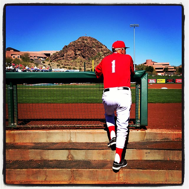 Angels coach Bobby Knoop watches from the dugout before a spring training game against the Dbacks in Tempe.