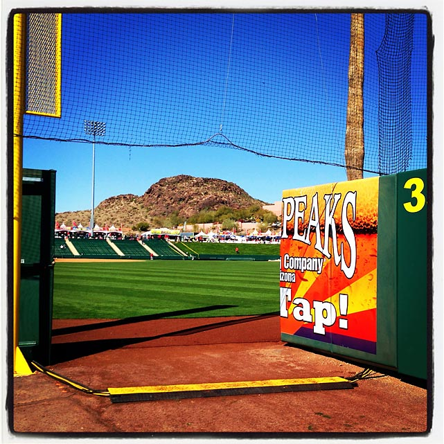 The right field corner at Tempe Diablo Stadium before a spring training game between the Dbacks and Angels.