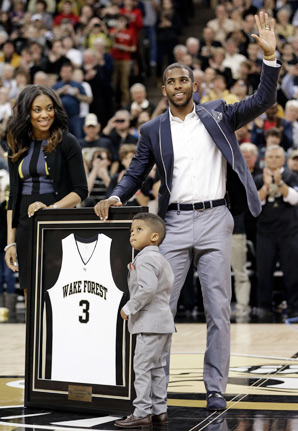 Chris Paul, his wife and his son all participated in a ceremony during halftime of Wake Forest's game vs. Maryland on Saturday.