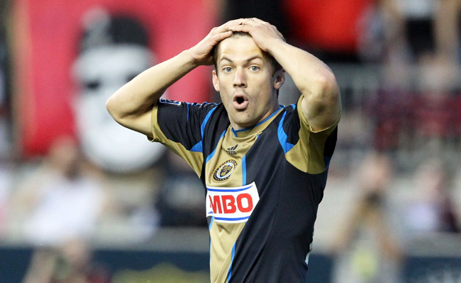 Philadelphia Union forward Jack McInerney reacts to an offside call during a 2012 MLS game.