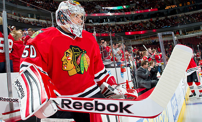 Corey Crawford and the Blackhawks have yet to lose in regulation this season.