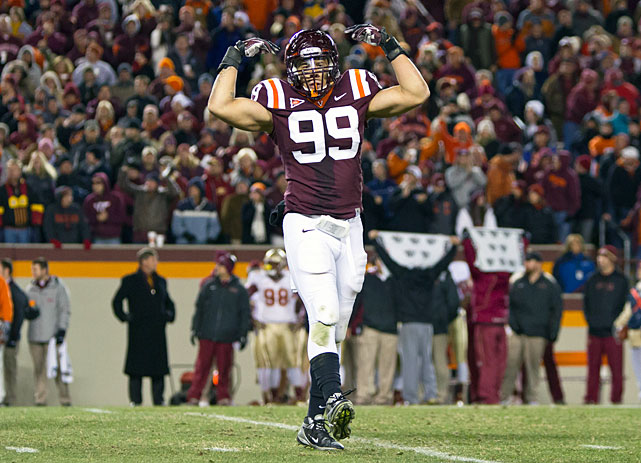 Virginia Tech's top returning pass rusher has been named second-team All-ACC for each of the past two seasons after recording 12 sacks and 23.5 tackles for loss over that time. After submitting paperwork to the NFL draft advisory committee to gauge his prospects, Gayle opted to return to Blacksburg, giving the Hokies nine returning defensive starters for 2013.
