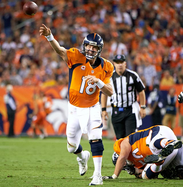 Missing the entire 2011 season due to neck surgery didn't harm Peyton Manning's earning potential. The Denver Broncos took a chance on the four-time MVP, giving him a five-year, $96-million deal. Through year one of the contract, Manning earned that paycheck, throwing for 4,659 yards and 37 touchdowns in 2012 while leading the Broncos to the best record in the AFC.