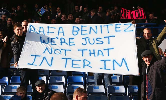 Chelsea fans display a banner as they protest against Rafa Benitez on Saturday.