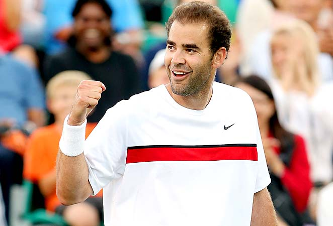Pete Sampras teamed with Novak Djokovic to play a doubles match with the Bryan brothers on Monday.