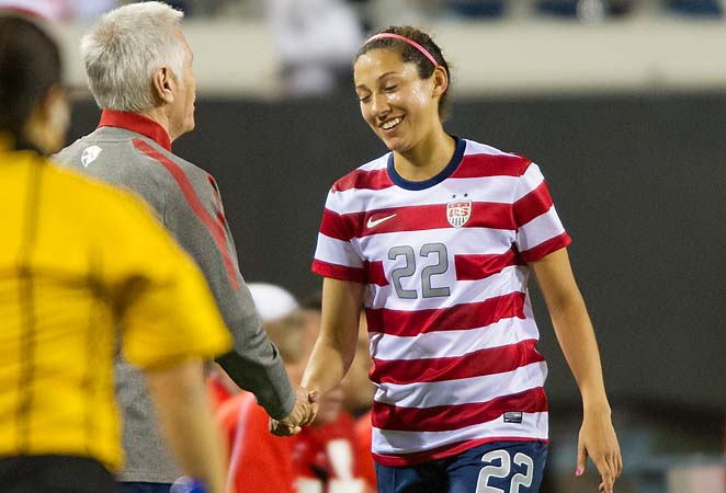 Christen Press (right) scored three of the U.S.' seven goals over two friendlies against Scotland.