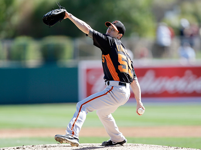 Tim Lincecum was battered for three runs and four hits in his first spring training start.