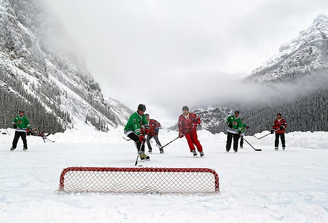 Coaches Corner take on the Shamrocks at the annual Lake Louise Pond Hockey Classic in Alberta, Canada on March 2. Coaches Corner got the victory in the 4-on-4 game played with no goalies.