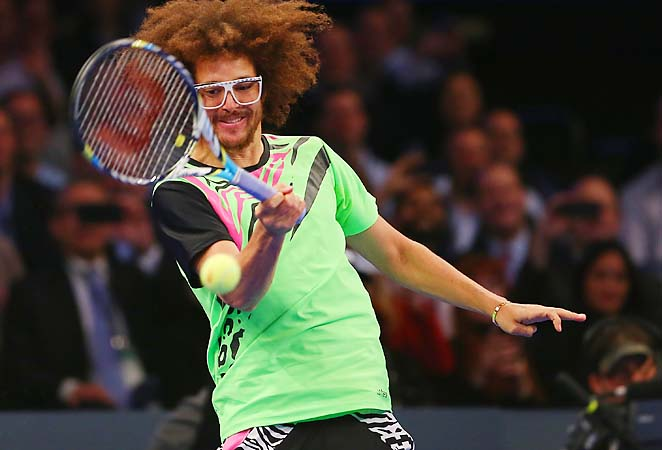 Redfoo took to the court at MSG and struggled to get a serve in against Serena Williams.