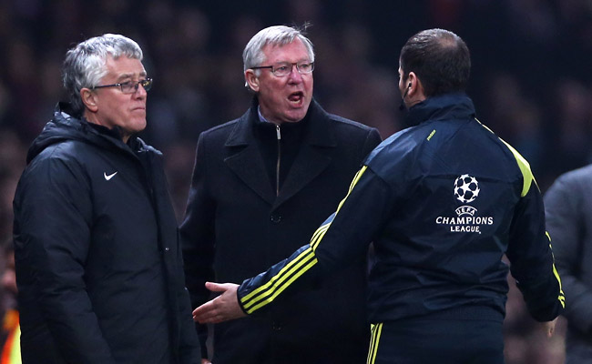 Sir Alex Ferguson yells at the fourth official after Nani was given a red card against Real Madrid.
