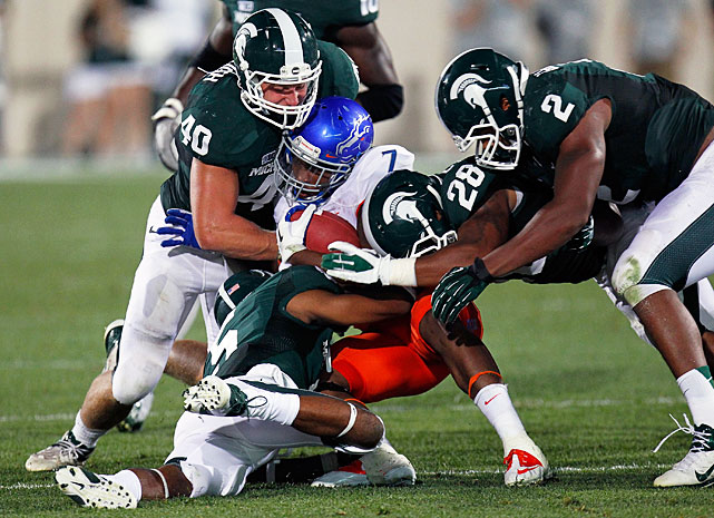 Bullough led Michigan State in tackles for the second straight year in 2012, recording 111, including 12.5 tackles for loss. The first-team All-Big Ten linebacker also notched 2.5 sacks, a forced fumble and an interception. Still, Bullough's biggest impact -- and arguably the reason his return to Michigan State is most valuable -- is his defensive leadership. He made on-field calls and adjustments for the fourth-ranked total defense in the FBS last season.