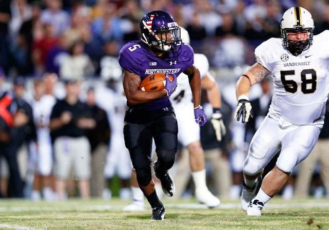 At 5-foot-8 and 175 pounds, Mark is easy to overlook -- until he goes whizzing by opposing defenses. In his first full year at running back after switching over from receiver, Mark became the first Northwestern player to top the 1,000-yard mark on the ground since Tyrell Sutton in 2006. Mark is also a dangerous return man. He broke two punt returns for touchdowns, and his 18.7 yards per return average ranked second in the FBS.