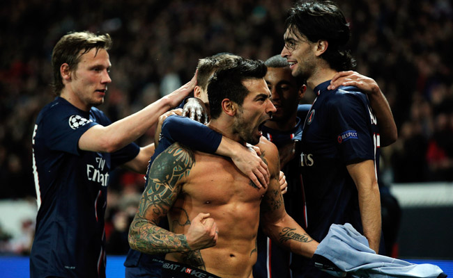 Ezequiel Lavezzi took off his shirt in celebration after putting PSG ahead on aggregate, 3-2.