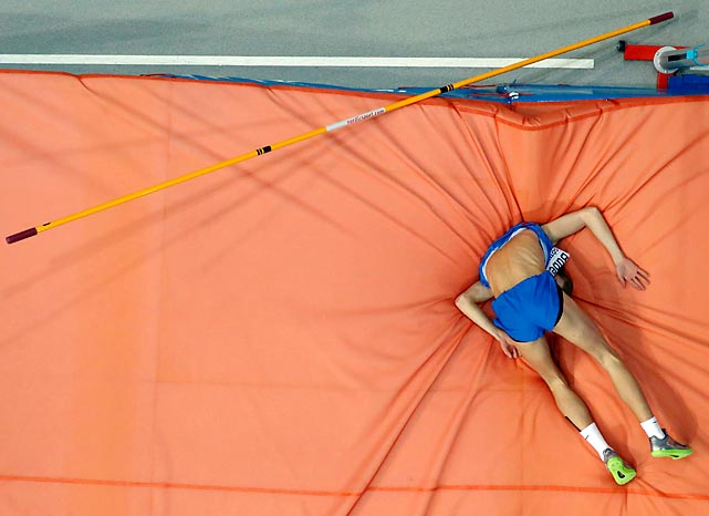 Slovakia's Matus Bubenik landed on the matus in rather undignified fashion during the men's high jump qualifier in Gothenburg.