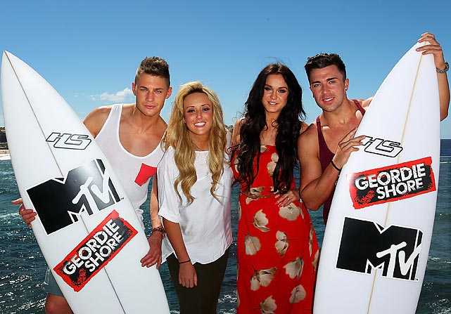Scott Timlin, Charlotte Letitia Crosby, Vicky Pattinson and James Tindale of MTV's bawdy UK reality series brought their special charms to Bondi Beach in Sydney, Australia, where they'll be filming another series-worth of intellectually stimulating fare.