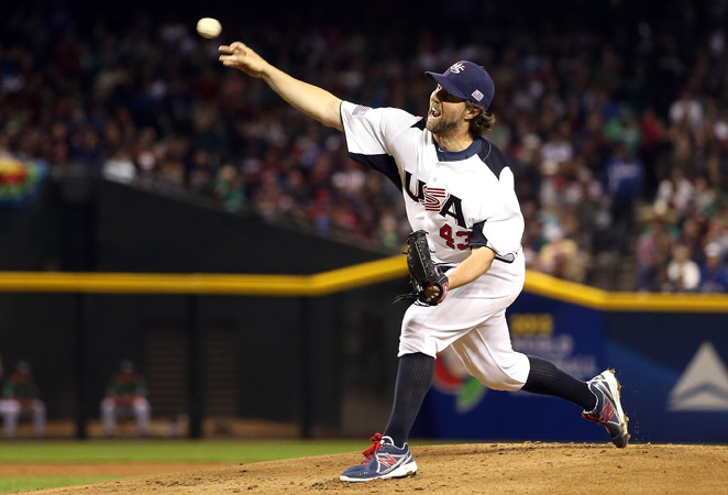 R.A. Dickey was roughed up in his first WBC start, giving up four runs on six hits in four innings.