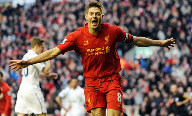 Steven Gerrard scored a penalty kick in the 82nd minute to give Liverpool the decisive 3-2 lead.