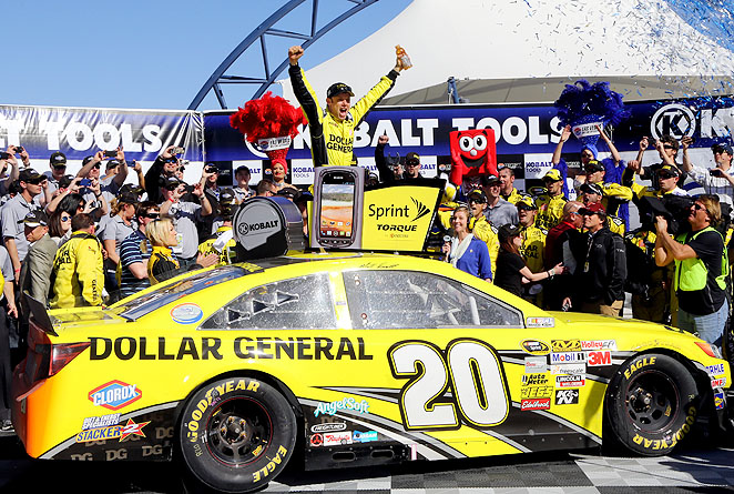 Kenseth held off some racing heavyweights to gets his first victory with Joe Gibbs Racing