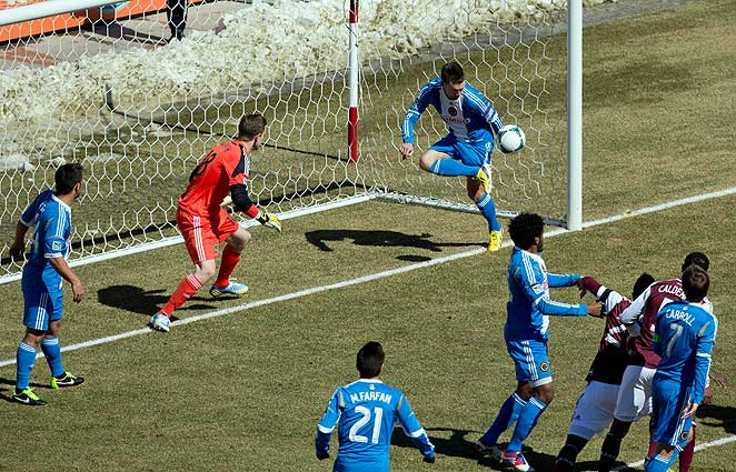 Jay McInerney saved this shot in the first half and later won the match for the Union in the 79th minute.