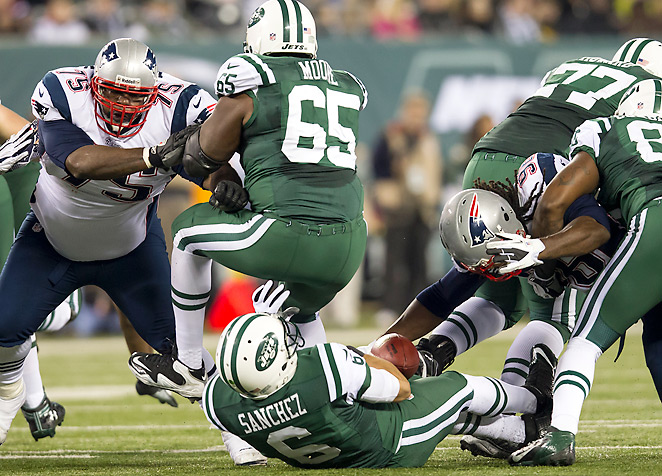 """Mark Sanchez's season hit a low point on this play, which quickly became known as the """"buttfumble."""""""