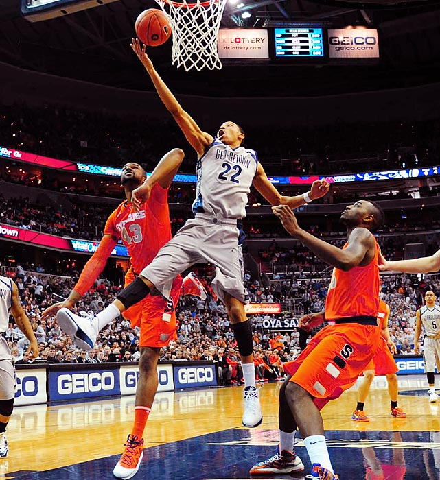 Georgetown forward Otto Porter Jr. drives to the hoop for a layup against Syracuse on March 9 at the Verizon Center in Washington, D.C. Porter wasn't able to match his 33-point outing from the last time the Hoyas played the Orange, but he helped Georgetown shut down Syracuse's offense for a 61-39 victory.