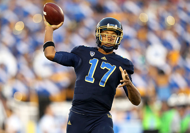 "Of all the freshman quarterbacks to see serious action in 2012, Hundley was one of the top passers of the bunch. The UCLA gunslinger threw for 3,740 yards and 29 touchdowns while rushing for nine additional scores. The fact that he recently described his performance last year as ""so ugly"" hints at his potential in 2013. Still, defenses will zero in on him more. He'll have to compete without the threat of standout running back Johnathan Franklin in the backfield."