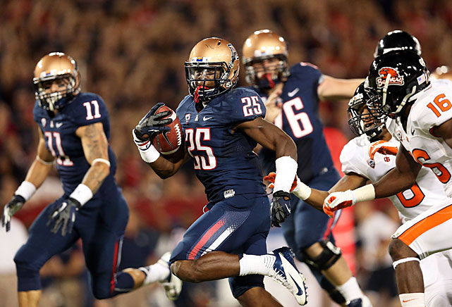 One of the unheralded stars of 2012, Carey rushed for an NCAA-best 1,929 yards in his debut season in Rich Rodriguez's offense. Carey also scored 23 touchdowns on the ground and caught 36 passes for 303 yards. The 2013 Heisman hopeful's career has taken a rocky turn since the end of the season, however; he has had multiple run-ins with law enforcement, including charges for misdemeanor assault and disorderly conduct.