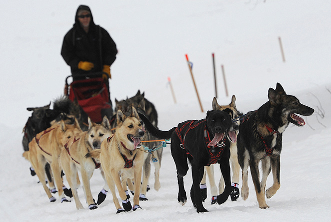 Jeff King (top) held the lead Monday but was last tracked six miles behind 2004 Iditarod winner Mitch Seavey.