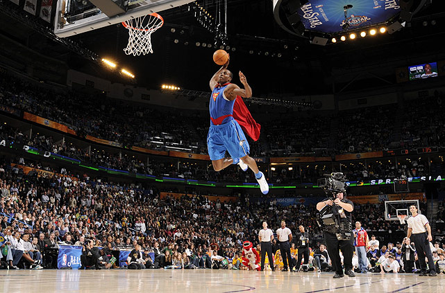 "Feeling snubbed by the judges in 2007, Howard returned and ran away with the dunk contest in 2008. ""I really wanted to win it for all the big men,"" he said of his performance, which included a now-memorable dunk in a Superman cape. ""Everybody always says, Big men can't jump and big men don't look good dunking. I just tried to add a little bit of my personality."""