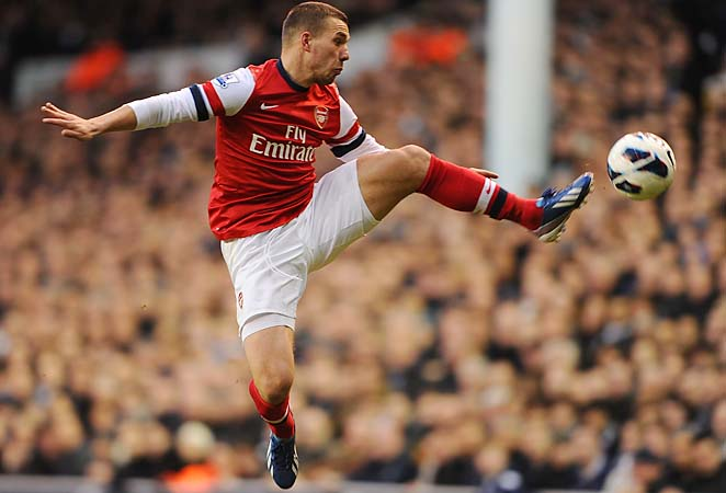 Lukas Podolski has eight goals and nine assists during the Premier League season.