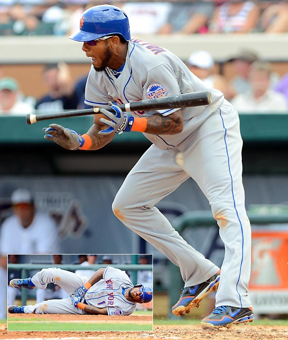 Jordany Valdespin isn't able to get out of the way of a pitch from the flamethrowing Justin Verlander and pays the price during a spring training game in 2013. Even worse, Valdespin wasn't wearing a cup when he caught the business end of Verlander's 94-mph fastball.
