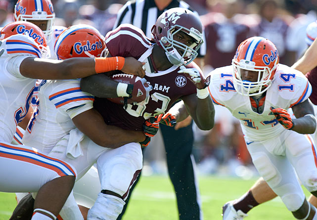 Michael runs low and hard and has decent speed for his 220-pound frame. He got the third most carries on Texas A&M this season behind Johnny Manziel and Ben Malena but averaged 4.7 yards on his 88 carries and scored 12 touchdowns. Michael has some issues with durability and never caught more than 15 passes in a season. He helped his draft stock with a solid performance at the East-West Shrine.